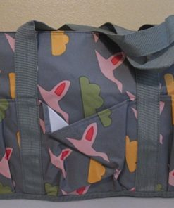 "Designer Tote- ESBAG Gray w/ Multi-Colored Print - Vinyl, D 10"", Ht 10"", L 15"""