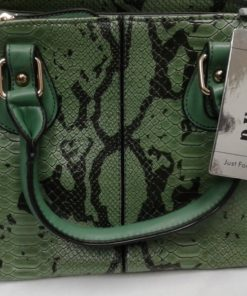 Esbag Regular handbag, green faux snake skin purse.