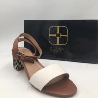 Iman Global Chic Block Heel Sandals – Color: Cream