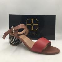 Iman Global Chic Block Heel Sandals – Color: Red