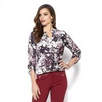Iman global chic twist front shirt color: Sangria size:1x