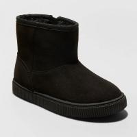 Cat & Jack Kid Boy Size 9 Arias Winter Boots Faux Suede Faux Fur Zip Black