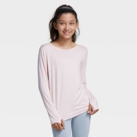 Girls' Long Sleeve Ruched Studio T-Shirt – All in Motion Light Pink M