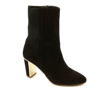IMAN Global Chic Luxe Faux Suede and Stretch Knit Perfect Bootie 614562-Gu-8.5