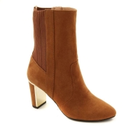 Global Chic Luxe Faux Suede and Stretch Knit Perfect Saddle-Brown Bootie Size9