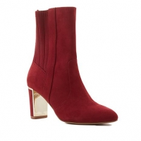 Global Chic Luxe Faux Suede & Stretch Knit Perfect Wine-Red Bootie Size 8