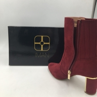 Global Chic Luxe Faux Suede & Stretch Knit Perfect Wine-Red Bootie Size 5.5