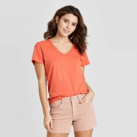 Women's Short Sleeve V-Neck T-Shirt – Universal Thread Rust XXL, Red
