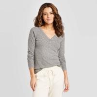 Women's Long Sleeve V-Neck Cozy Rib Henley Shirt – Universal Thread Charcoal Size: XL,