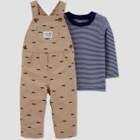 Baby Boys' 2pc Shifley Overall Set – Just One You made by carter's Khaki 3M,