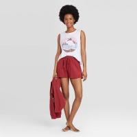 Colsie Women's White Cropped Flamingo Beach Club Graphic Tank Top. Size M