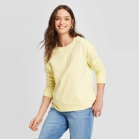 Women's Crewneck Detail Pullover Sweater Cream L – Universal Thread With Tag Size:L
