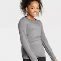 Girls' Long Sleeve Ruched Studio T-Shirt – All in Motion Dark Gray XS