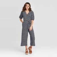 Women's Floral Print Elbow Sleeve Cropped Jumpsuit – Universal Thread Navy Xs