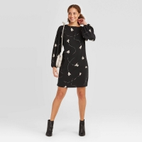 Women's Floral Print Long Sleeve Dress Black/floral Size: M – A Day W/ Tags