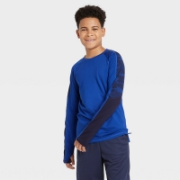 Boys' Long Sleeve Colorblock Soft Gym T-Shirt – All in Motion Blue Size: L