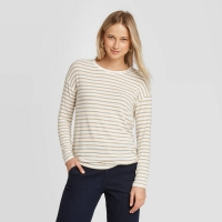 Women's Striped Long Sleeve Crewneck Sweater A Day Brown size: Large