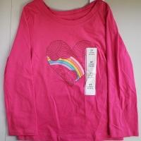 Toddler Girls' Long Sleeve Stars T-Shirt – Red 3T, Toddler Girl's