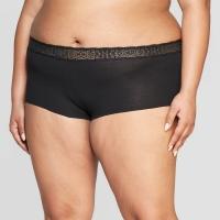 Women's Plus Size Cotton Boyshort with Lace Waistband – Auden Black 2X