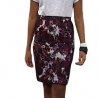 Colleen lopez forever chic printed lace overlay pencil skirt