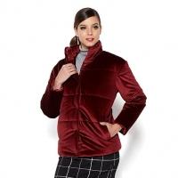 iman platinum collection velvert puffer jacket color sangria