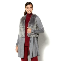 IMAN Platinum Touch of Cash Cardigan and Faux Fur Vest Charcoal