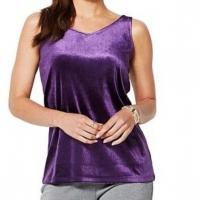 IMAN Global Chic Dressed Signature Women Velvet Tank Top Purple Size Large