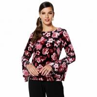 IMAN Global Chic Dressed Ready Velvet Bell Sleeves Tunic Top – Medium – Burgundy