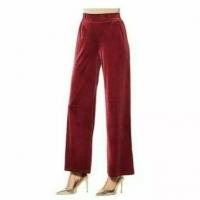 Iman Global Chic Palazzo Velvet Elastic Waist Pants – Burgundy – 3X
