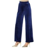 Iman Global Chic Palazzo Velvet Elastic Waist Pants – Midnight – Medium Average