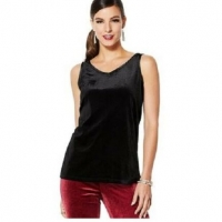 IMAN Global Chic Dressed Signature Women Velvet Tank Top Black Size X1